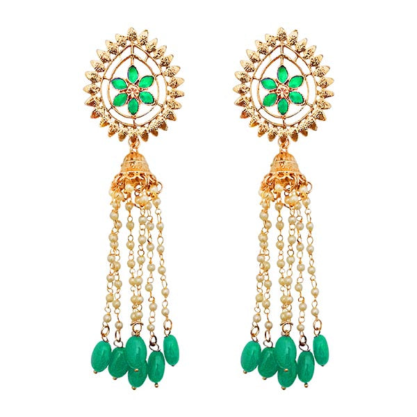 Kriaa Gold Plated Green Stone Beads Dangler Earrings