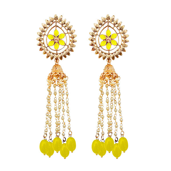Kriaa Gold Plated Yellow Stone Beads Dangler Earrings