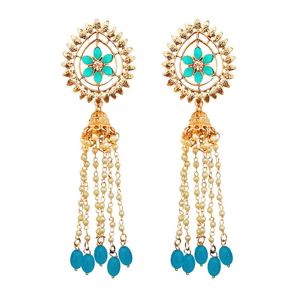 Kriaa Gold Plated Blue Stone Beads Dangler Earrings