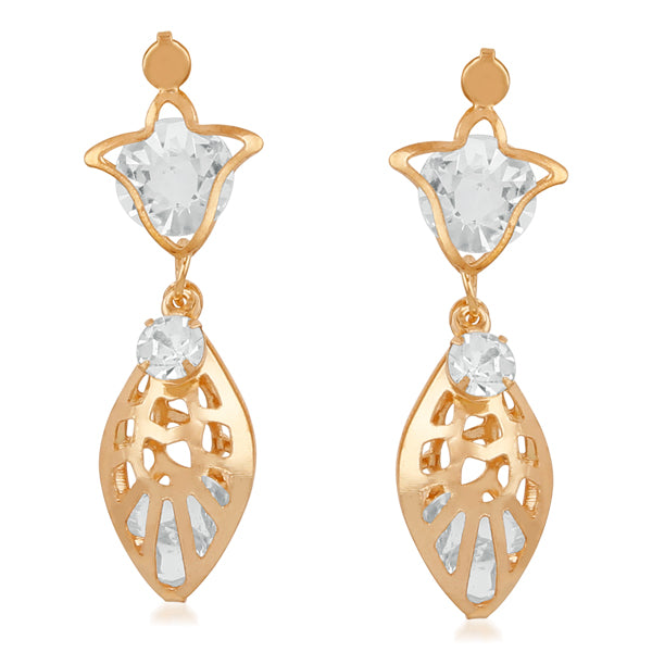 Urthn Gold Plated Stone Dangler Earrings