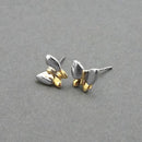Urthn 2 Tone Plated Butterfly Design Stud Earrings