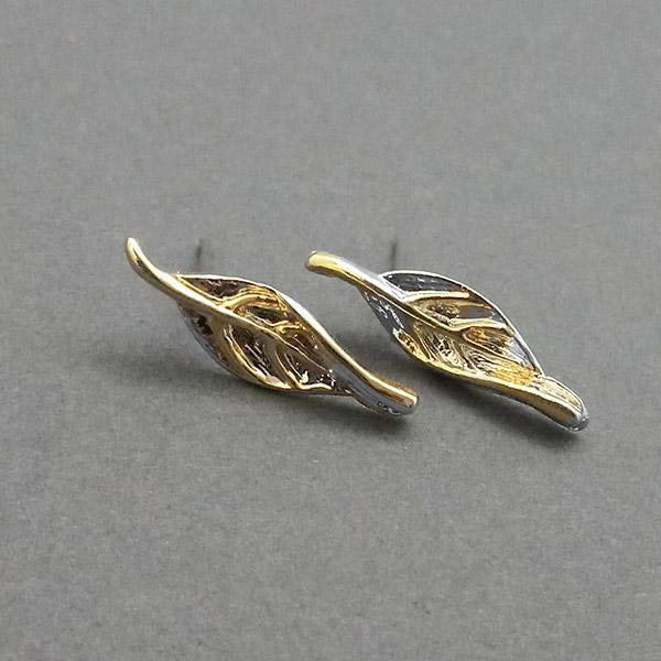 Urthn 2 Tone Plated Leaf Design Stud Earrings