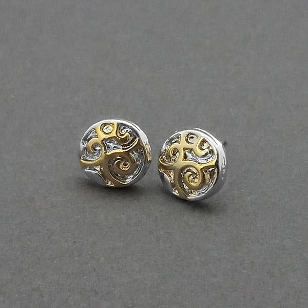 Urthn 2 Tone Plated Round Shape Stud Earrings
