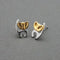 Urthn 2 Tone Plated Cat Design Stud Earrings