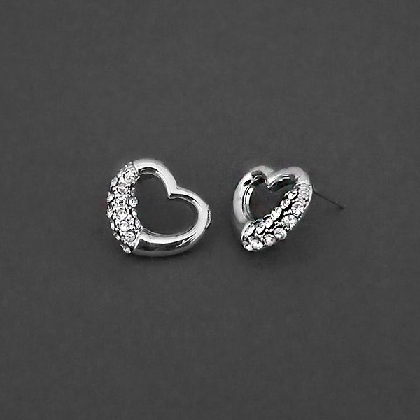 Kriaa Silver Plated White Austrian Stone Stud Earrings