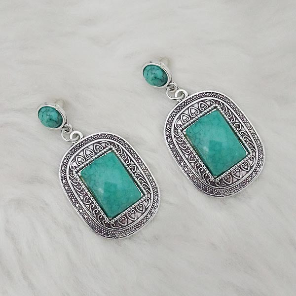 Kriaa Green Turquoise Stone Oxidised Plated Dangler Earrings