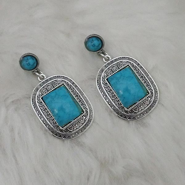 Kriaa Blue Turquoise Stone Oxidised Plated Dangler Earrings