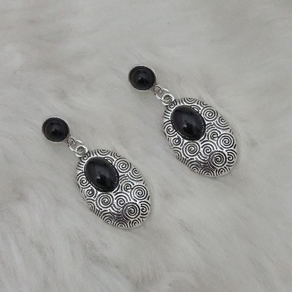 Kriaa Black Turquoise Rhodium Plated Dangler Earrings