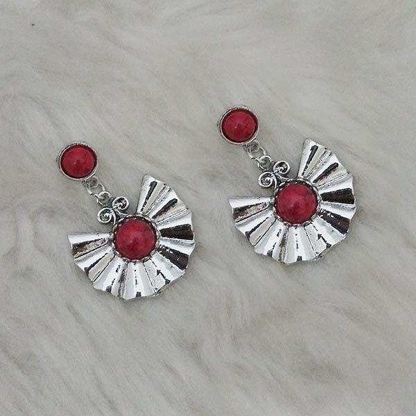Kriaa Maroon Turquoise Stone Silver Plated Dangler Earrings