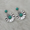 Kriaa Green Turquoise Stone Silver Plated  Dangler Earrings