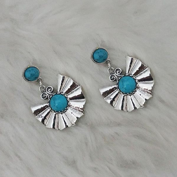 Kriaa Blue Turquoise Stone Silver Plated  Dangler Earrings