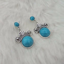 Kriaa Turquoise Stone Rhodium Plated Dangler Earrings