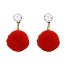 Kriaa Red Thread Gold Plated Stone Dangler Earrings