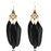 Jeweljunk Gold Plated Black Feather Earrings