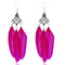 Jeweljuk Rhodium Plated Pink Feather Earrings