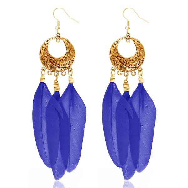 Jeweljunk Gold Plated Blue Feather Earrings