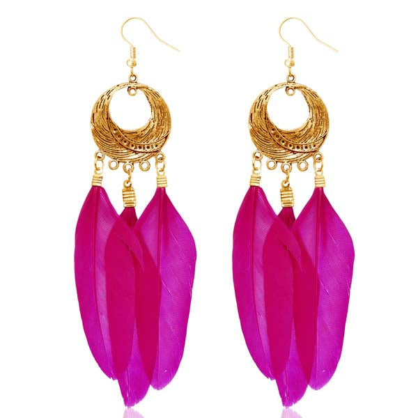Jeweljunk Gold Plated Pink Feather Earrings
