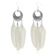 Jeweljunk Rhodium Plated White Feather Earrings