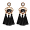 Jeweljunk Gold Plated Black Stone Tassel Earrings