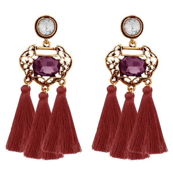 Jeweljunk Gold Plated Stone Brown Thread Earrings