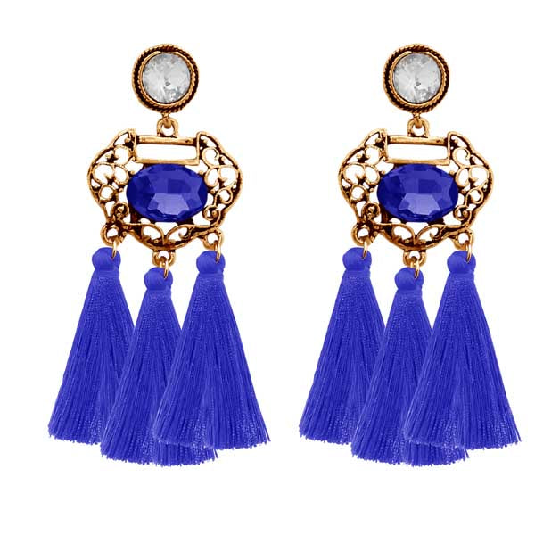 Jeweljunk Blue Stone Gold Plated Thread Earrings