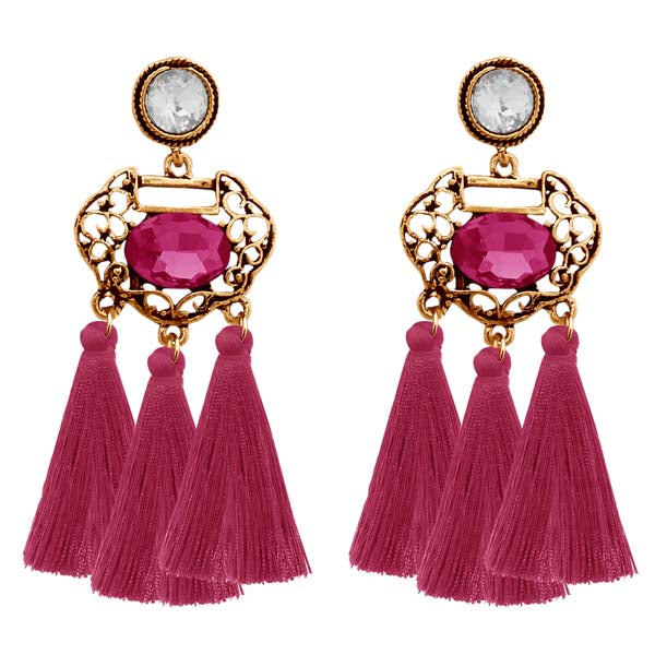 Jeweljunk Gold Plated Purple Stone Thread Earrings