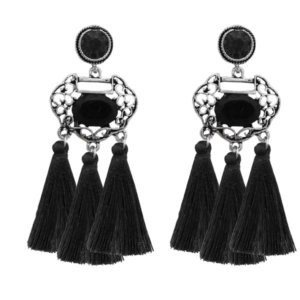 Jeweljunk Black Stone Rhodium Plated Tassel Earrings