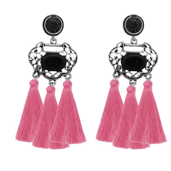 Jeweljunk Rhodium Plated Stone Pink Thread Earrings
