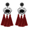 Jeweljunk Brown Thread Rhodium Plated Tassel Earrings