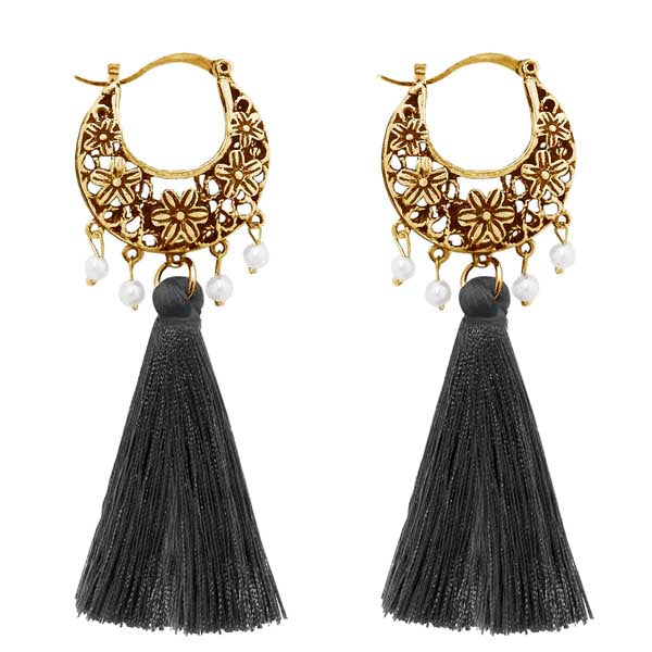 Jeweljunk Grey Thread Gold Plated Earrings