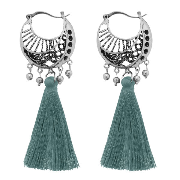 Jeweljunk Blue Thread Rhodium Plated Tassel Earrings