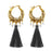 Jeweljunk Gold Plated Grey Thread Earrings