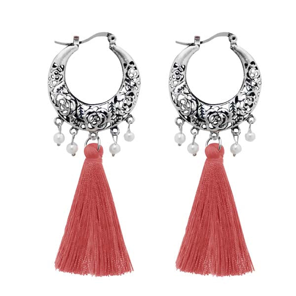 Jeweljunk Rhodium Plated Peach Thread Earrings