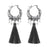 Jeweljunk Rhodium Plated Grey Thread Earrings
