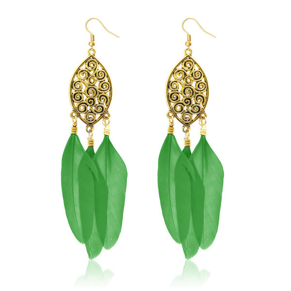 Jeweljunk Gold Plated Green Feather Earrings
