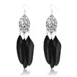 Jeweljunk Silver Plated Black Feather Earrings