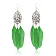 Jeweljunk Silver Plated Green Feather Earrings