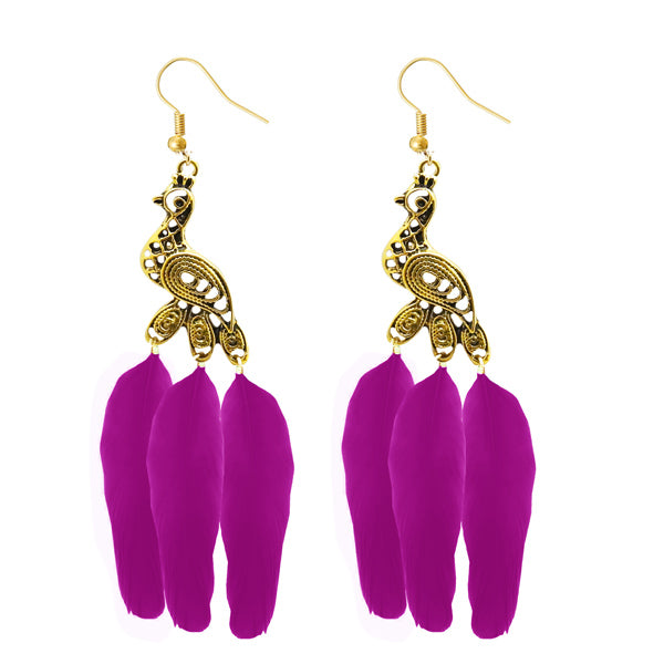 Jeweljunk Gold Plated Pink Feather Peacock Earrings