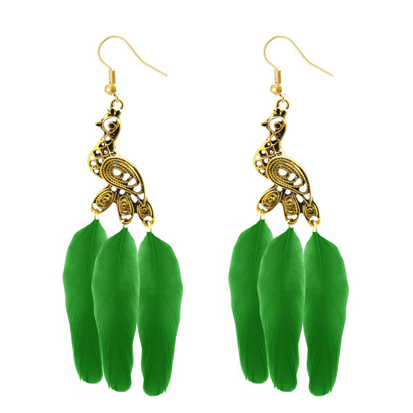 Jeweljunk Gold Plated Green Peacock Feather Earrings