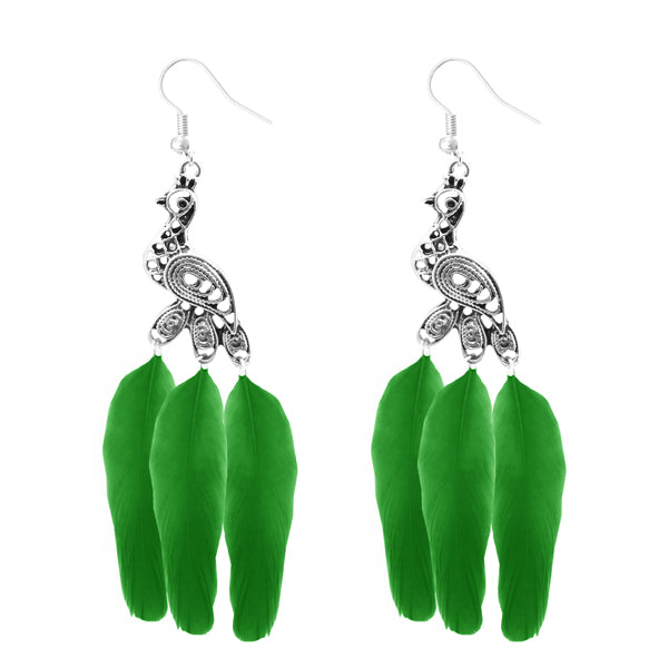 Jeweljunk Silver Plated Green Peacock Feather Earrings