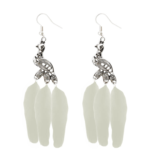 Jeweljunk Silver Plated White Peacock Feather Earrings