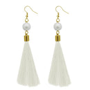 Jeweljunk White Gold Plated Thread Earrings