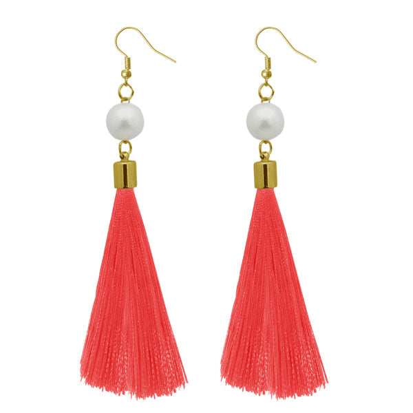 Jeweljunk Peach Gold Plated Thread Earrings
