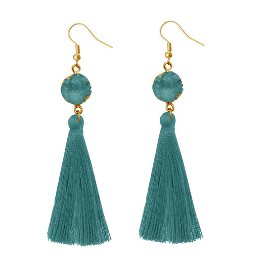 Jeweljunk Green Thread Gold Plated Earrings