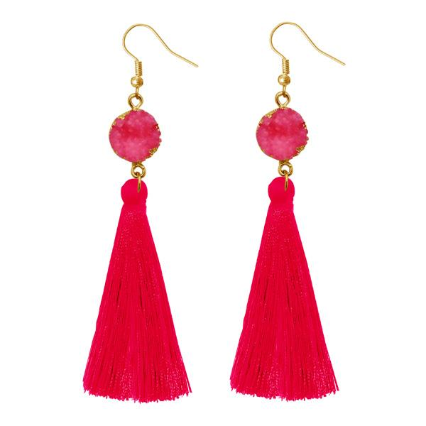 Jeweljunk Pink Gold Plated Thread Earrings