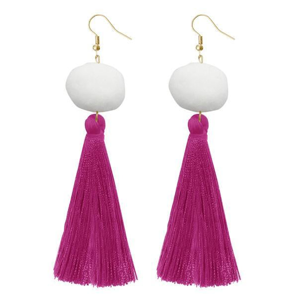 Jeweljunk Purple Gold Plated Thread Earrings