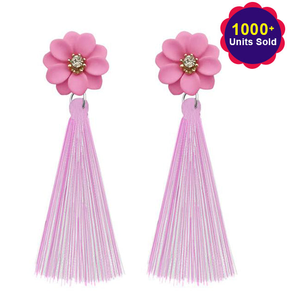 Jeweljunk Pink Thread Tassel Earrings