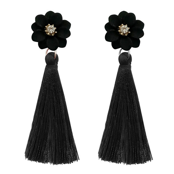 Jeweljunk Black Thread Gold Plated Tassel Earrings