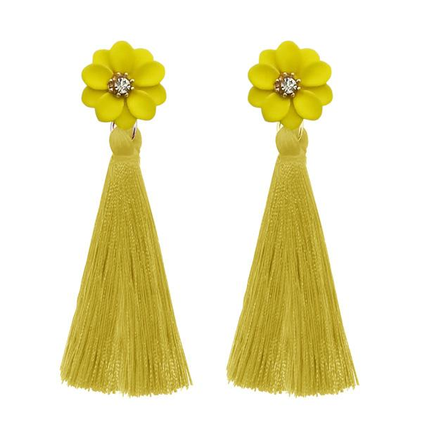 Jeweljunk Yellow Thread Gold Plated Earrings