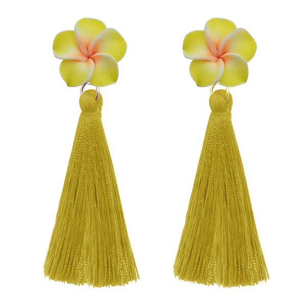Jeweljunk Yellow Thread Gold Plated Tassel Earrings